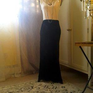 Ralph Lauren Black Burnout Velvet Maxi Skirt Sz 10